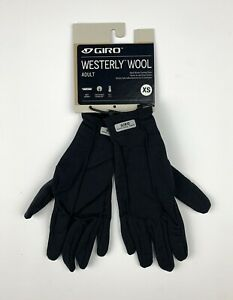 Giro Westerly Wool Full Finger Cycling Gloves Size XS Black New