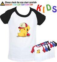 Pikachu hat play Graphic Tee Kids Birthday Gift Boys Girls T-Shirt Childs Tops