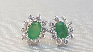 Vintage:: 9ct Gold Emerald & Simulated Diamonds Stud Earrings-  eye catching