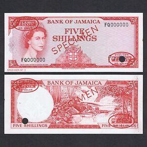 1960 JAMAICA 5 SHILLINGS FQ 000000 P-51Ads UNC> > >QUEEN E II TDLR SPECIMEN NO 1