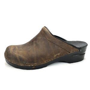 Dansko Womens Brown Leather Suede Slip On Clogs Nursing Shoes Size 39