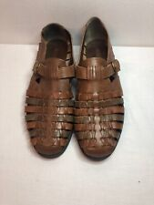 Stacy Adams Sandals Fisherman Men Shoes Size 10 Brown Leather Weaved 23206