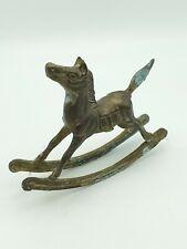 Antique Vintage Brass Rocking Horse Figurine 7.5� Needs cleaned