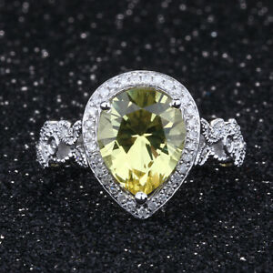 Fine Jewelry Sterling Silver Pear 10x7mm Citrine Natural Diamonds Engagment Ring