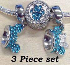 Disney Mickey & Minnie Mouse Blue Crystal Ears 3 piece set  European Bead Charms