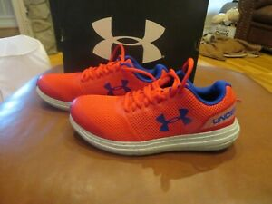 NWT Boys Red & Blue Under Armour Surge Tennis Shoes, Size 4.5