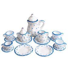 Dollhouse Miniature 1:12 Toy Kitchen Dining Room 15 pc Porcelaine Tea Set A6T9