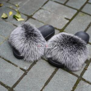 Women's Big Fluffy Real Fox Fur Flat Slippers Slides Indoor Sandal Shoes Fashion