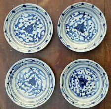 Old Chinese blue and white porcelain dishes Pottery Arabesque pattern 4 pieces
