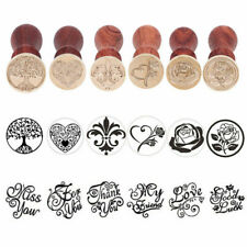 12-Types Vintage Sealing Wax Stamp Wooden Handle Party Invitation Cards Decors