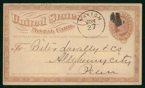 Mayfairstamps US 1870s Dayton OH to Allegheny PA Stationery Card wwp5889