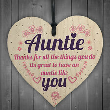Aunties Like YOU Present Wooden Hanging Heart Aunt Sign Friendship Love Gift