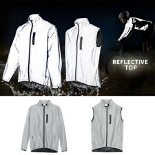 Men's High Visibility Jacket Full Reflective Vest Windbreaker Night Sport Coat