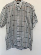 Mens Size Large Blue Plaid Cotton Shirt With Short Sleeves And Pockets