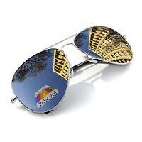 New Unisex Polarized Pilot Sunglasses Mens Women Ladies Silver Mirror Retro