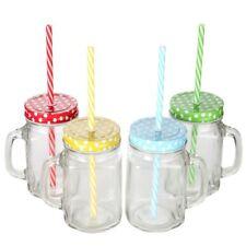 4 x Vintage Drinking Glass Mason Jar With Handle  Metal Lid Plastic Straw 350ml