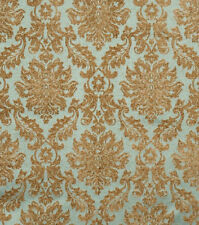 Damask Chenille Fabric Jaclyn Smith Peacock Drapery Upholstery Aqua Blue Gold