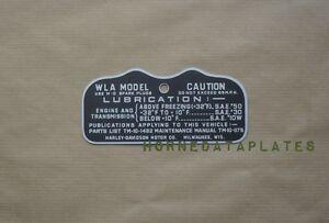 HARLEY DAVIDSON MILITARY WLA ZINC CAUTION TAG TANK DATA PLATE 1943 Type IV