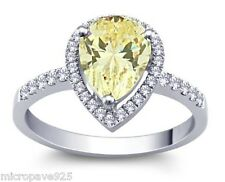 Canary Yellow Pears Shaped Cubic Zirconia Solitaire Ring In Sterling Size 8.5