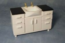 Miniature Dolls House Accessories white Bathroom Vanity with Sink 1:12th scale