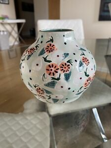 NWT Anthropologie Mathilde Floral Vase Blue New