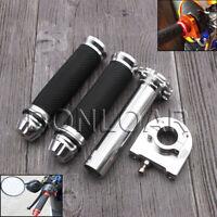 22mm 7/8'' CNC Hand Grips Throttle Twist Tube Lever Motorcycle Bike Silver