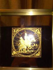 DAMASCENE PLAQUE-DON QUIXOTE & SANCO  PANZA -HAND MADE - TOLEDO SPAIN 1982
