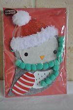 Papyrus Christmas Owl with santa hat Hangable Ornament Christmas card! Nip!