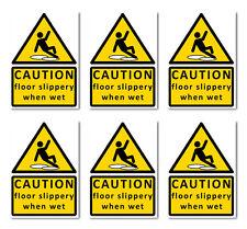 CAUTION floor slippery when wet sign sticker vinyl small A6 10.5 x15cm (6x)