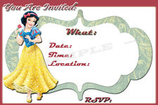 Snow White Party Invitations with matching envelopes, birthday, princess, 12pack