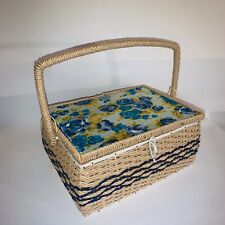 Vintage 1960's Japan Sewing Basket Box Insert Handle Aqua Blue floral fabric