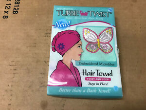 Turbie Twist Super Absorbent Hair Towel Embroidered (ASSORTED COLORS/DESIGNS)