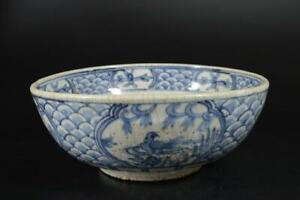 U7558: Chinese Blue&White Flower Bird pattern BIG Kashiki DESSERT BOWL/dish