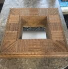 Vintage Woven Bamboo Shadow box Shelf Mirror Handmade Geometric Art Box