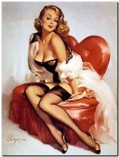 "Vintage GIL ELVGREN Pinup Girl CANVAS PRINT Love Seat Heart 8X10"""