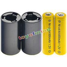 2x AA NiCd 600mAh 1.2V batterie + 2XC batteria all'adattatore del convertitore