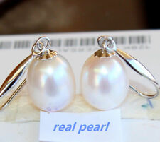 AAA++ 11X13MM Australian south seas natural white pearl earrings 14K white Gold