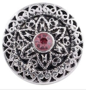 Antique Silver Pink Rhinestone 20mm Snap Charm Interchangeable Fits Ginger Snaps