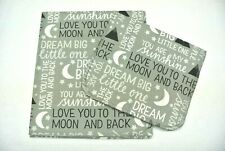 Baby Blanket Burp Cloth Set You Are My Sunshine Love You to Moon Can Personalize