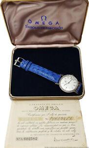 Rare 18k White Gold Diamond Omega Mens Vintage Watch Box Papers