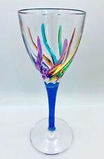 GLASSWARE - VENETIAN CARNEVALE CORDIAL GLASS - BLUE - HAND PAINTED CRYSTAL