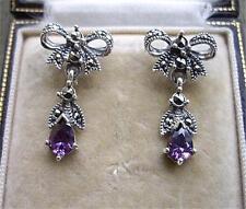 Deco Design Genuine Amethyst/Marcasite Silver Bow Earrings