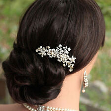 Silver Flower Bridal Wedding Hair Comb Crystal Pearl Clip Slide Hairpiece Prom