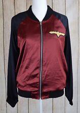 In Awe Of You Juniors Satin Colorblock Bomber Jacket Coat BlackRuby Medium M $79