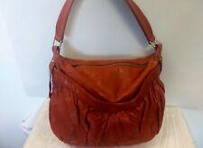 Vtg Lauren Merkin Leather shoulder bag Hobo handbag Purse Orange/Rust Color