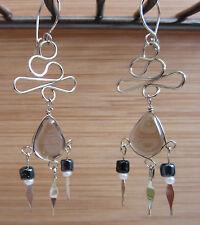 EARRING EARRINGS Alpaca Silver Grey Glass Beads Native American INKA MAYA 34