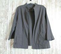 EILEEN FISHER Women's GRAY Open Front Linen Jacket Size LARGE Blazer Mandarin