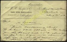 1881 NOTTINGHAM, W. R. THORPE & CO., CLOSED UPPER MANUFACTURE (SHOES), MEMO