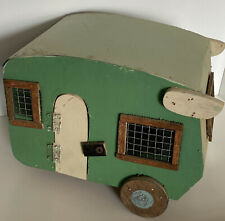 Vintage Shasta Wing Style Birdhouse Camper: Wooden w/ Metal Roof