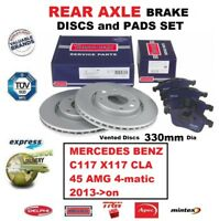 FOR MERCEDES C117 X117 CLA 45 AMG 4-matic 2013->on REAR BRAKE PADS + DISCS 330mm
